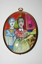 PETER PAONE-Philly/NY Surrealist-Original Signed Miniature Oil-Two Young Women