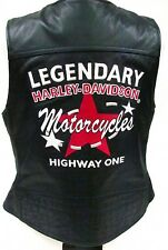 Harley Davidson Leather Vest FASTLANE Embroidered Graphics 97176-07VW Womens 1W