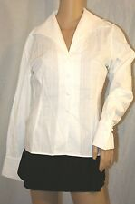 ANNE FONTAINE PARIS BUTTON UP DRESS SHIRT LONG SLEEVE BLOUSE WHITE TOP 0 S