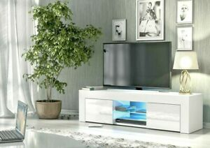 Modern TV Unit Cabinet Stand High Gloss Doors 130cm with LED Lights Drawers