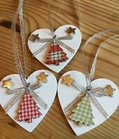 3 X Handmade Tartan Christmas Decorations Shabby Chic Heart Tree Silver Bows