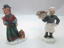 2 Chirstmas Holiday Miniature Figurines - Lady & Baker