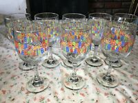 "9 Libbey HAPPY BIRTHDAY Wine Glass Candle Party Set Rainbow Colors 7 1/4"" 10 oz"