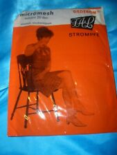Vintage FAL Dederon Nylons Nylonstrümpfe Gr. 9 braun 20 den mesh Stockings OVP
