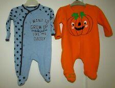 NEWBORN BABY BOYS ALL IN ONES BABYGROWS PUMPKIN & DADDY GOOD CONDITION