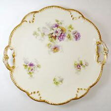 """AKCD Limoges Purple & Yellow Flower 10-1/2"""" Serving Plate Antique Collectible"""