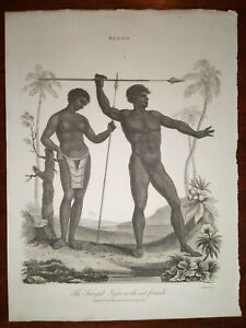 "Original African Nude Print ~ 1818 Engraving ""The Senegal Male and Female"""