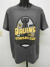 NEW- Boston Bruins 2011 Stanley Cup Champions Mens L Large Majestic Gray Shirt