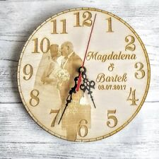 Personalised Wooden Wall Clock Photo Gift Wedding Birthday Christmas Mum Dad