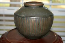 David Leach- Studio Pottery - UK Potter- Tenmoku Fluted Porcelain Vase