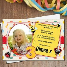 10 Personalised Girl Boy Ladybirds & Bees Birthday Party PHOTO Invitations N176