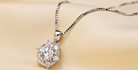Snow-Flake 925 Sterling Silver Pave 2.0 Cts CZ Star Flower Pendant Necklace