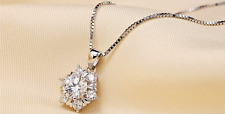 *Snow-Flake* 925 Sterling Silver Micro-inlay 2.0 Cts CZ Star Pendant Necklace