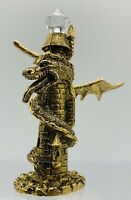 "Old VTG 1986 RARE SPOONTIQUES GOLDEN DRAGON TOWER CRYSTAL CM 607 PEWTER 3.1/4"" H"