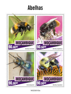 Mozambique Bees Stamps 2020 MNH Bumblebee Orchard Mason Bee Insects 4v M/S