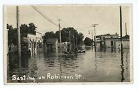 RPPC Boating on Robinson Street FLOOD OKLAHOMA CITY OK Real Photo Postcard