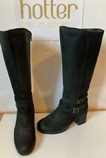 Hotter Cheshire Comfy Black Leather Boots Size UK 4 EU 37