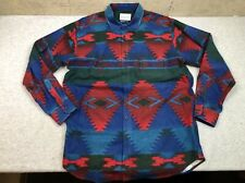 Vintage Johnson Woolen Mills Aztec Southwestern Cotton Flannel Shirt L USA