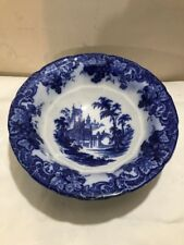 Antique Large Gothic Pattern Flow Blue Punch Bowl Or Wash Basin 1850s J Furnival