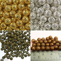 Metal Filigree DIY Spacer Charm Beads Choose 4mm 8mm 10mm Plated Gold & Silver