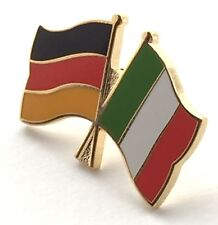 Germany & Italy Friendship Flags Gold Plated Enamel Lapel Pin Badge