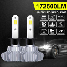 2X H1 1300W 195000LM LED Headlight Conversion Bulbs Low Beam 6000K White Fanless