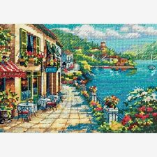 """Dimensions Gold Collection Petite Counted Cross Stitch Kit Overlook Cafe 5"""" X 7"""""""