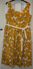 BNWOT Boden MARILYN Yellow Flower Print Sleeveless Dress - 16 Long / 16L