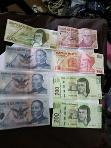 Mexico Money Notes Lot-Total of 8 Bills in a Lot
