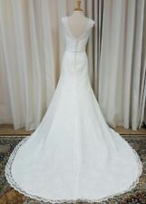 NEW Justin Alexander Sincerity Bridal Sheath Gown Lace 3835 Wedding Dress Ivory