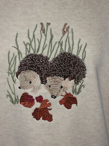 LADIES SWEATSHIRT,JUMPER,TOP WITH AN EMBROIDERED HEDGEHOG ANIMAL OATMEAL