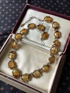 Vintage Scottish Banded Glass Agate Link Necklace