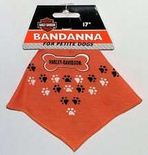 "Harley Davidson 17"" Bandanna for Petite Dogs (Orange w/ Puppy Paws)"