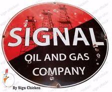 "SIGNAL OIL  SIGN , vintage replica gas station sign, 8"" ALUMINUM, garage signage"