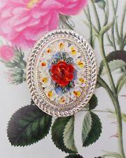 Red Rose & White Orchid Broche Camafeo Flor clásica con Solapa Pin Pintado A Mano
