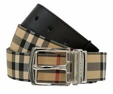 NEW BURBERRY HORSEFERRY CHECK BLACK LEATHER REVERSIBLE LOGO BUCKLE BELT 100/40