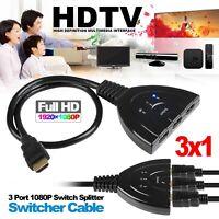 HDMI Splitter Cable Multi Switch Switcher HUB Box 3 PORT LCD HDTV PS3 Xbox 1080P