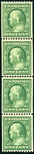 1910 1¢ GREEN VERTICAL COIL #385 LINE STRIP OF 4 VF NH BROOKMAN CAT $1720