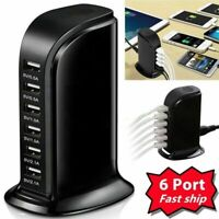30W USB Power Adapter 6 Port USB Tower Power Charger Travel Hub Quick Charger US