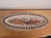 Céramique Vintage 60 Plat Ovale Oiseau XL grès Émaillé Frères Picard VALLAURIS