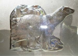 GLASS PAPERWEIGHT POLAR BEAR FLAT SLAB FROSTED ICE ICEBERG
