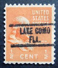 Sc # 803 ~ 1/2 cent Ben Franklin Issue, Precancel, LAKE COMO FLA.