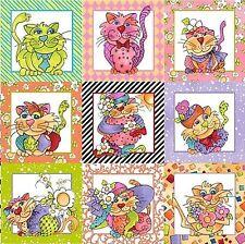 Happy Cats Panel Loralie Patchwork Stoffe Katzen Baumwollstoffe Patchworkstoffe