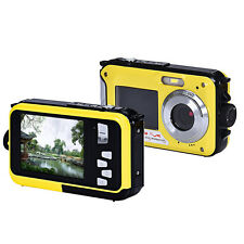 "2.7"" Double Screen Waterproof Camera 24MP 16x Digital Zoom Dive Camera CMOS NICE"