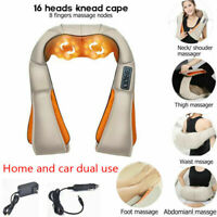 Electric Shiatsu Neck Shoulder Back Body 3D Massager Pillow Car&Home w/Heat