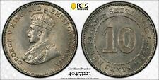 Straits Settlements George V 10 cents silver 1927 about uncirculated PCGS AU58