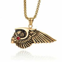 Skull Skeleton Feather Necklace Pendant Men Stainless Steel Wing Jewelry Gifts