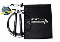 Speed Jump Rope Adjustable Cable Heavy Duty Feet Workout Crossfit Gym Fit Black
