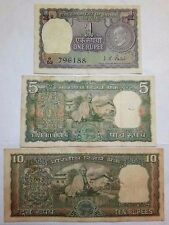 3 DIFFERENT GANDHI ISSUE NOTE RS {1, 5, 10}