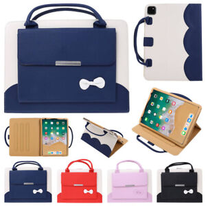 For iPad Mini Air 3 4 Pro 9.7 10.2 10.9 11 12.9 Handle Leather Wallet Case Cover